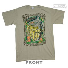 Allman Brothers Band t-shirt celebrating their 40th year playing together on the front. Printed on a beige 100% cotton t-shirt.