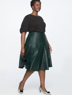 811543c869a29 Studio Faux Leather Trumpet Skirt from eloquii.com Trumpet Skirt, Plus Size  Skirts,