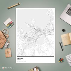 A map poster from Mapiful.com. A creative DIY tool to make your own map poster. This is 'Tallinn'