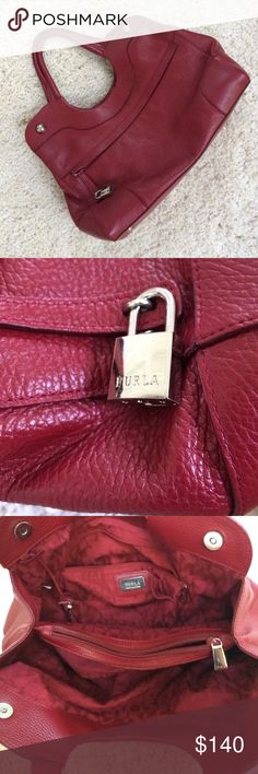 Furla Red Leather Shoulder Bag This Furla Red Shoulder bag is In excellent used condition. The chrome round studs are snaps. Nice inside compartments, metal feet. Guaranteed authentic. Furla stamps are on several pieces of hardware in addition to the lining. Normal wear, no tears. No dustbag or box. Furla Bags Shoulder Bags