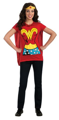 Wonder Woman Superhero Shirt Costume Headband Cape WOMENS S M L