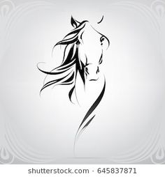 Similar images, stock photos and vectors of vector silhouette of a horse - 645837871 - Similar images, stock photos & vectors of Vector silhouette of a horse& head – 645837871 Horse Head Drawing, Horse Drawings, 3d Drawings, Sketches Of Horses, Drawing Pics, Drawing Art, Drawing Ideas, Tattoo Caballo, Horse Stencil