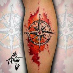 Pictures of Tattoos of Rosa dos Ventos Dove Tattoos, Body Art Tattoos, New Tattoos, Sleeve Tattoos, Tattoos For Guys, Tatoos, Tatoo Compass, Watercolor Compass Tattoo, Compass Tattoo Design