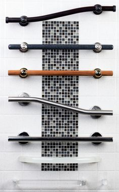 Great Grabz grab bar product board - Great Grabz sets the standard for bathroom beauty with the added benefit of safety, reliability, an - Ada Bathroom, Handicap Bathroom, Bathroom Safety, Downstairs Bathroom, Bathroom Ideas, Boho Bathroom, Master Bathroom, Shower Grab Bar, Grab Bars In Bathroom