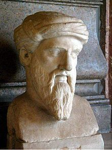 Pythagoras of Samos - c. 570 BC – c. 495 BC was an Ionian Greek philosopher, mathematician, and founder of the religious movement called Pythagoreanism. He is revered as a great mathematician, mystic and scientist, but he is best known for the Pythagorean theorem :In any right-angled triangle, the area of the square whose side is the hypotenuse is equal to the sum of the areas of the squares whose sides are the two legs (the two sides that meet at a right angle).