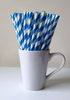 Paper Straws  Royal Blue and White Striped Party by PuppyCatCrafts, $3.95
