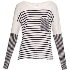 Velvet By Graham & Spencer Ario striped jersey T-shirt ($125) ❤ liked on Polyvore featuring tops, t-shirts, striped t shirt, white stripes t shirt, loose t shirt, breton stripe t shirt and striped top