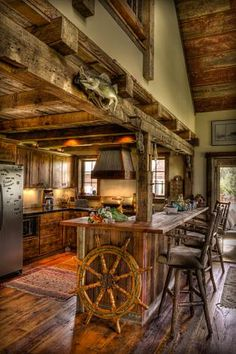 Kitchens rustic cabin: gorgeous rustic log cabin kitchen from off grid world, cabin kitchens kitchen rustic with rough hewn wood log, rustic cabin galley kitchen rustic kitchen Cabin Interiors, Rustic Interiors, Log Cabin Homes, Tiny Log Cabins, Small Cabins, Small Houses, My Dream Home, Sweet Home, House Design