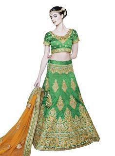 Shop Peppy Green Net A Line Lehenga Choli Bridal/wedding wear lehenga online from India with free worldwide shipping offer