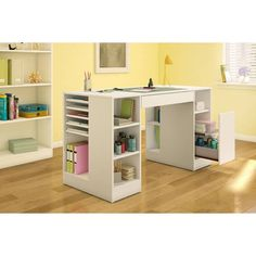 South Shore Crea Collection Pure White Craft Hobby and Sewing Table