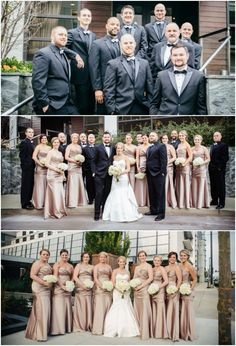The wedding party looked daper in black and rose gold  Krista and Tim, November 8th, 2014, Cook Images
