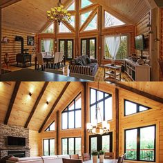 Take a look at these 2 Timber Block interiors. What would you do? Would add the decorative beams inside, or no? You'll see the top has them, the bottom doesn't. More photos of these homes at www.timberblock.com