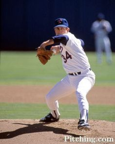 """Classic Nolan Ryan """"power position"""".  Slightly closed with a strong front side."""