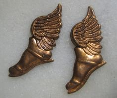 Vintage Winged Feet, Roman/Greek Mythological Gods Hermes or Mercury Sandals/Shoes, Raw Unplated Brass Stampings/Findings, 1 pr. Greek Gods And Goddesses, Greek Mythology, Aphrodite, Hermes Mythology, Brad Pitt, Hermes Shoes, Lore Olympus, Wing Shoes, Vintage Stamps