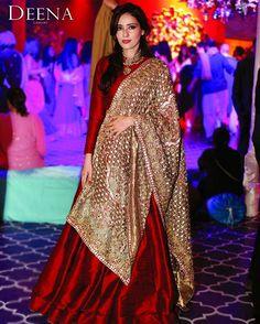 Our creative director, Deena Rahman wears red and gold. #deenarahman #traditional #couture #desiwedding #design
