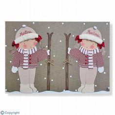 Cuadro infantil personalizado: Niñas esquiadoras (ref. 12077-01)