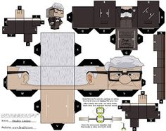 papercraft o paper toys Carl Fredricksen, Disney Up, Cardboard Toys, Paper Toys, 3d Paper Crafts, Diy Paper, Vitrine Miniature, Educational Activities For Kids, Kids Prints