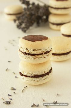 Macarons with choclate paint.