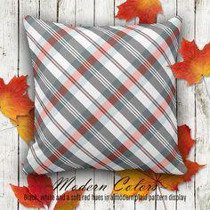 Moder Colors... Black, white and a soft red #hues in a #modern #plaid #pattern display... #tartan, #cushion, #sofa, #couch, #stylish, #plaidpattern, #tartanpattern, #homeaccent, #interiordesign #pillow #zazzle #zazzleshop #zazzler #digitalartcreations
