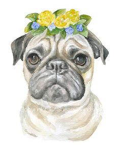 Pug with Flowers Watercolor