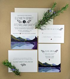 A beautiful DIY printable wedding invitation suite featuring a forest and lake landscape for your wedding in the woods, in the mountains, or lakeside.  Suite includes matching invitation, rsvp response card, reception card, and information enclosure card.  By Pink Balloon Paper (www.etsy.com/shop/pinkballoonpaper)