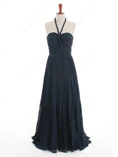 Discount Dark Navy A-line Chiffon with Criss Cross Halter Bridesmaid Dress…