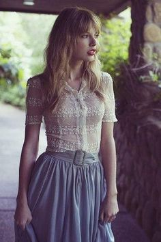 hair, blue skirt, lace blouse