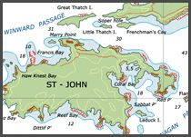 St. John USVI in the Virgin Islands and Caribbean with accommodations hotels inns restaurants watersports Saint Thomas activities