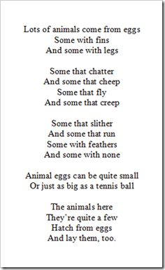 Oviparous Animals Poem Great lesson idea on this website that
