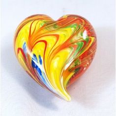 heart shaped glass paperweight.