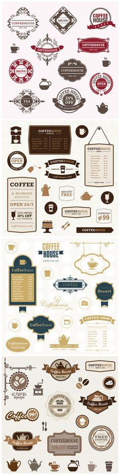 Fun vector packages for Coffee shops in various styles. (Find more scalable graphics at Screamin Cow Design Studio) #restaurantgraphics #typography