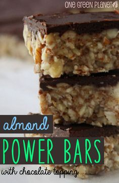 Almond Power Bars With Chocolate Topping