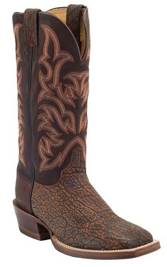 Justin® AQHA Remuda™ Mens Cognac Safari Elephant w/ Brown Jurassic Goat Top Exotic Square Toe Boots | Cavender's Boot City