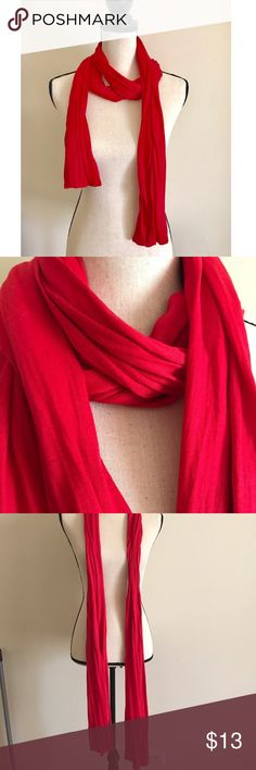 On the-go Red Scarf  Perfect on the go red scarf! Perfect for any event bright red color♥️ about 6feet long worn a few times EUC NO FLAWS!! Must have Cotton blends, ❤️BUNDLE & SAVE 10%❤️ Accessories Scarves & Wraps