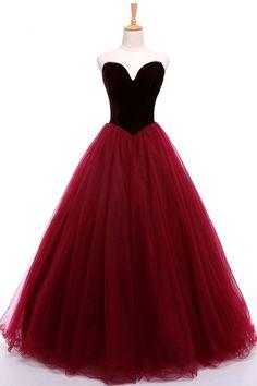 New sweetheart velvet long burgundy tulle A-line formal prom dress