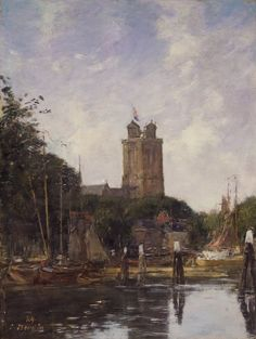 Eugene Boudin Dordrecht, The Great Church from the Canal ( 1874 )