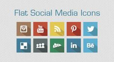 Check out these great flat yet floating icons for popular networks/sites!  Long Shadow Flat Free Social Media Icons 2013