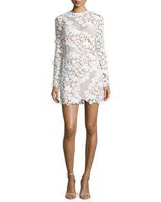 3D Floral-Lace Mini Dress, White