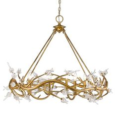 Inspired by the iconic, symbolic cherry blossom tree, Rosmeer is forever blooming. Sculpted organic branches in full, riotous bloom intertwine into a more traditional silhouette. Elegant candelabras twinkle from within the gilded branches. The gold leaf version is gilded with light antiquing and paired with clear glass flowers. This 8 light chandelier creates a stylish focal point perfect for living and dining areas.