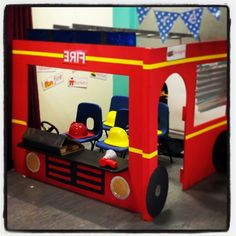 Using a corner roleplay frame, create a fire engine. Thanks to our fantastic Teaching Assistant our role play is ready for a fire station theme! Dramatic Play Themes, Dramatic Play Area, Dramatic Play Centers, School Displays, Classroom Displays, People Who Help Us, Play Corner, Reception Class, Community Helpers Preschool