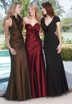 Like the middle one, maybe different color?  Why not a bridal gown?