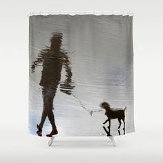 surreal walk with a dog Shower Curtain