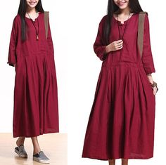 linen maxi casual cotton dress loose bat sleeve dress by Aolo, $88.80
