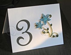 Wedding Table Number Cards/Reception Table Numbers/ Table Tents/ Table Numbers / Blue Flowers / Quilled Cards-FRENCH SCRIPT FONT