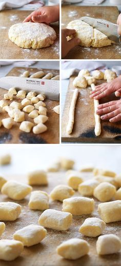 Tested by Franca - 30 Minute Homemade Ricotta Gnocchi - Note add a bit more salt and do in mixer Italian Dishes, Italian Recipes, Ricotta Gnocchi, Vegetarian Recipes, Cooking Recipes, Gnocchi Recipes, Tortellini, Le Diner, Homemade Pasta