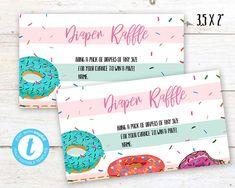 Donut Diaper Raffle, Donut instant download party label, You print birthday diaper raffle, Donut DIY party banner Donut Diy, Diy Donuts, Party Labels, Party Printables, Diy Party Banner, Diaper Raffle, Birthday Celebration, First Birthdays, Card Stock