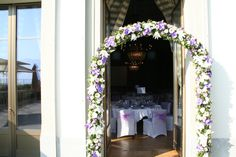 Beautiful flower entrance - Wedding at Hôtel des Trois Couronnes, Vevey, Switzerland Vevey, Banquet, Beautiful Flowers, Entrance, Events, Wedding, Entryway, Happenings, Valentines Day Weddings