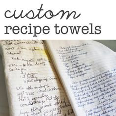 5 Custom Family Recipe Flour Sack Dish Towels - Made to Order - printed directly onto towel on Etsy, $95.00
