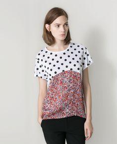 Zara Combined Floralpolka Dot Tshirt in White (print-2) | Lyst