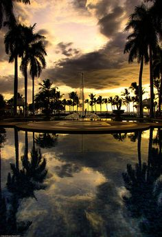 sunset view from the main fountain at  Grand Wailea Resort Hotel, Maui, Hawaii by Shaun Moore